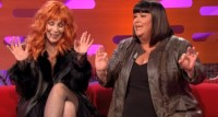 Cher and Dawn French Singing Believe